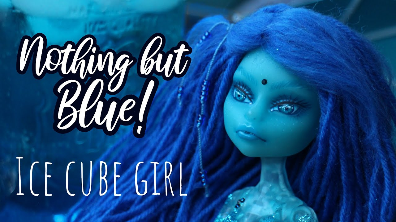 Using only BLUE art supplies! Custom Monster High Doll | doll repaint