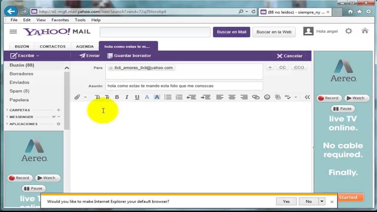como mandar un correo en yahoo