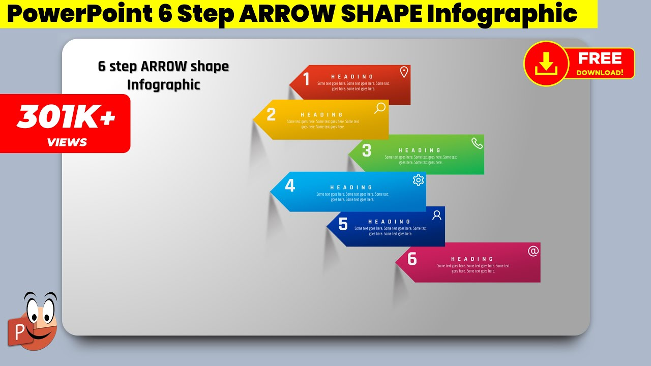 14 create 6 step arrow shape infographic powerpoint presentation