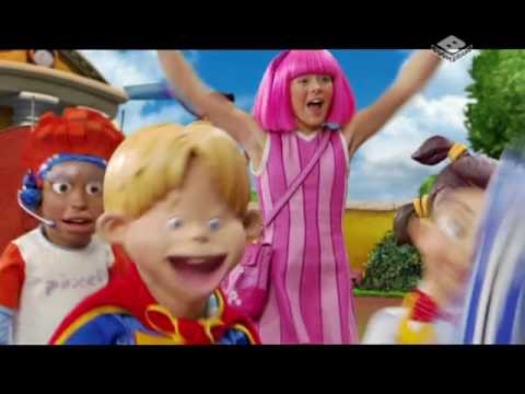 The Lazytown intro, but it's in English, Polish, Romanian, Hungarian, Russian and Dutch at once