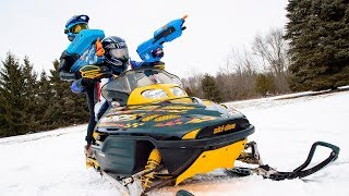 NERF WAR | SNOWMOBILE BATTLE!