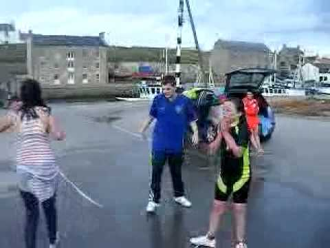 Jumping in burghead harbour.