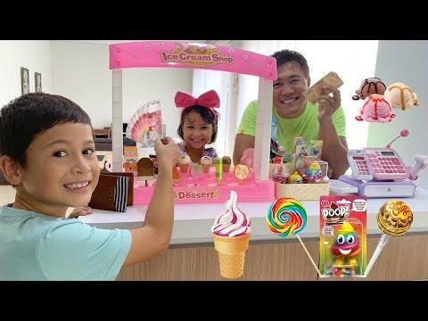 Misha Jadi Penjual Es Krim Dan Permen Lollipop Unik - Drama Jualan Pakai Uang Beneran