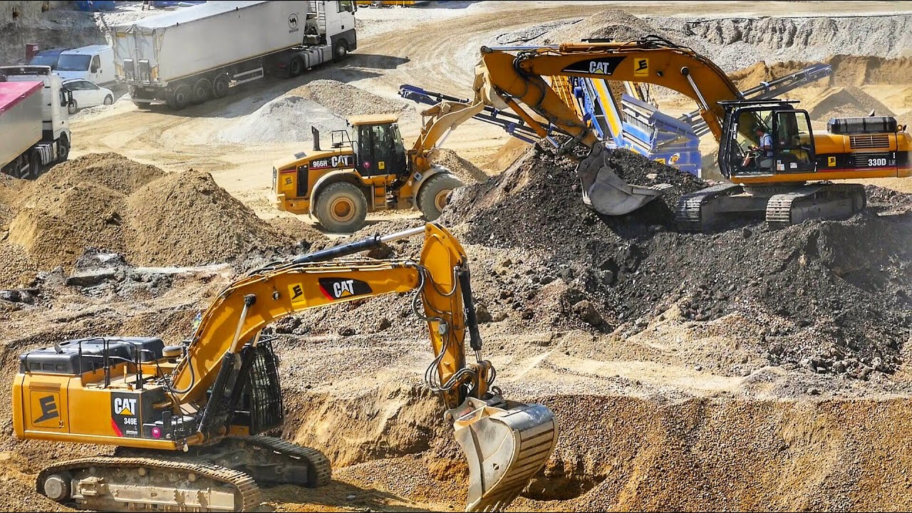 heavy excavator cat 349e cat 330d ln wheel loaders cat 966h volvo l150h [ 1280 x 720 Pixel ]
