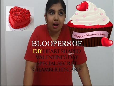 BLOOPERS-DIY Heart Shaped Valentine's Day Special Secret chambered cake-bloopers of video n editng