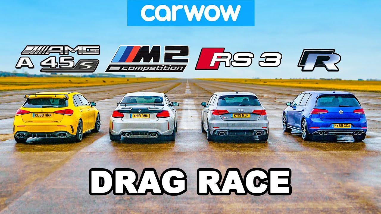 Amg A45s V Bmw M2 V Audi Rs3 V Vw Golf R Drag Race Rolling Race Brake Test Youtube