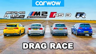 AMG A45S v BMW M2 v Audi RS3 v VW Golf R: DRAG RACE, ROLLING RACE & BRAKE TEST!