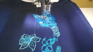 """Рюкзаки с вышивкой ILEM. Вышивальная машина вышивает дизайн """"Цветочная кошка""""."""