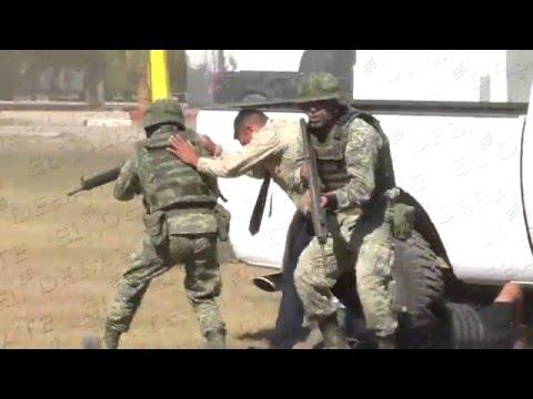 Rescata Ejército Mexicano a empresario, simulacro por celebración de 103 Aniversario