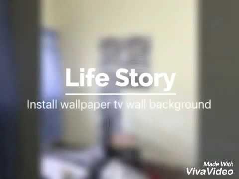 Diy install wallpaper tv wall background