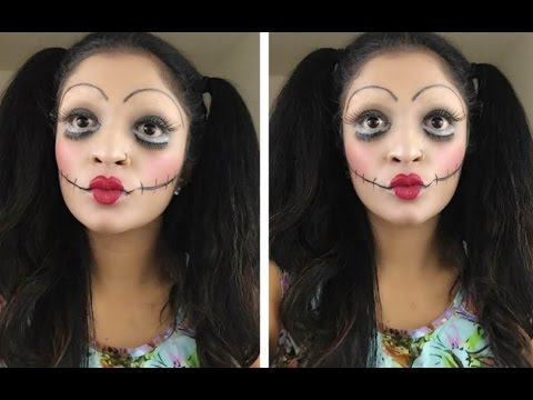 ♥scary doll halloween makeup tutorial  easy and beginner