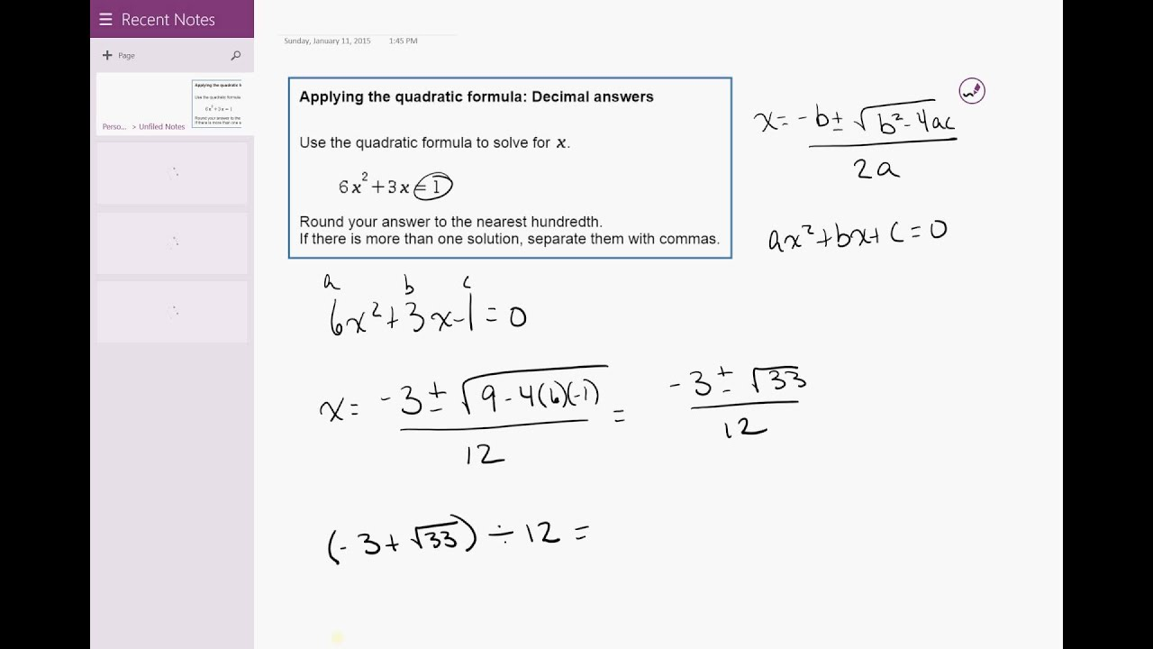Solving A Quadratic Equation By Completing The Square Decimal Answers Calculator