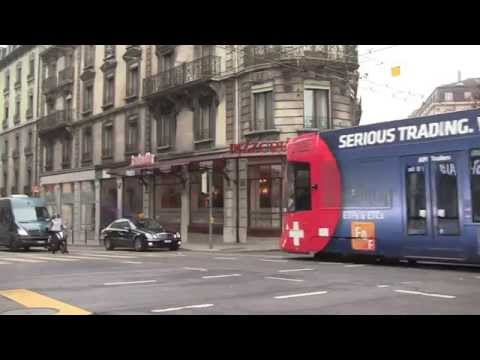 Geneva Trams, Gènéve, Switzerland - 7th January, 2015