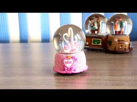 Lover Swans Musical Snow Globe