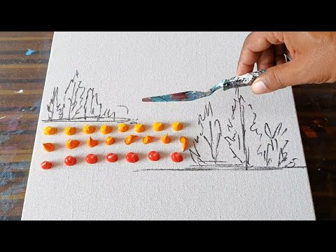 Landscape Painting Demo / Tutorial / Easy For Beginners / Relaxing / Daily Art Therapy / Day #224
