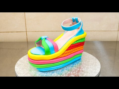 921b6c0d5f0328 High Heel Wedge Shoe Cake - How To Make  Torta Zapato. Cakes StepByStep