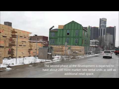 Orleans Landing: Mid-January drive by of new Detroit Riverfront residential/retail development