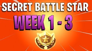 ALL Fortnite season 7 SECRET Battle Star Locations week 1 TO 3 And BANNERs