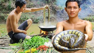 Yummy Big Water Snake Recipe - Cooking Water Snake in forest Eating Delicious