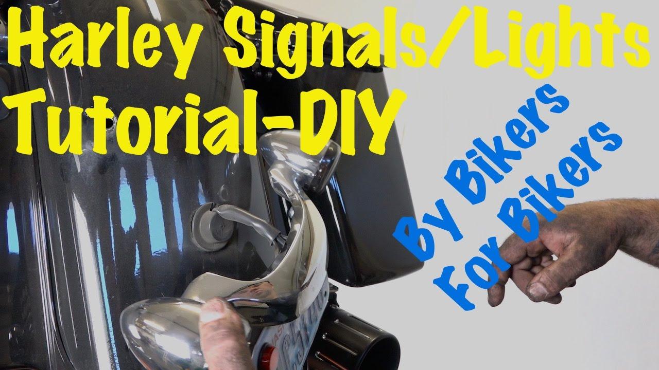 install bullet rear turn signals led brake light bar on harley davidson touring diy youtube [ 1280 x 720 Pixel ]