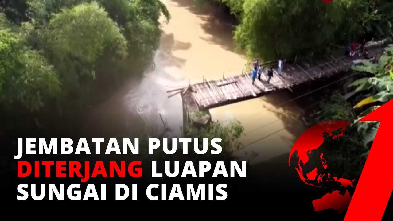Jembatan Putus Akibat Luapan Sungai Ciputrahaji di Ciamis