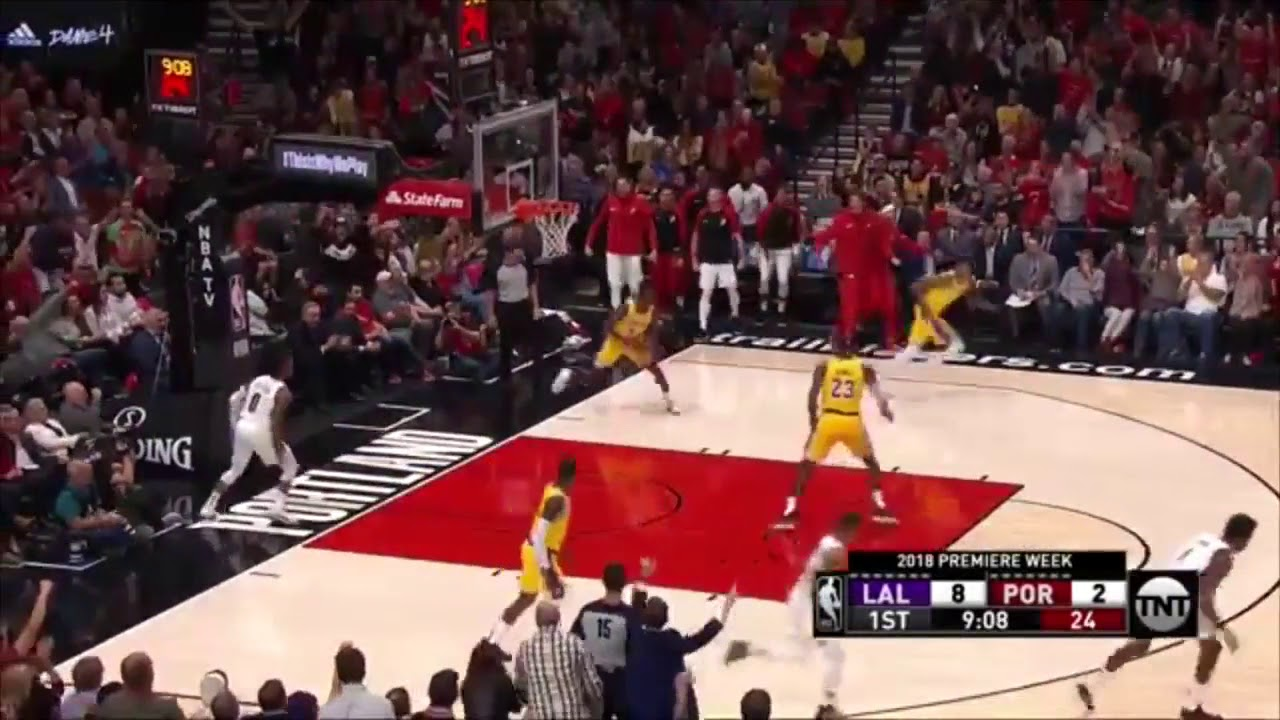 361935aede3 LeBron James First Two Dunks as a Laker Trailblazers vs Lakers NBA  Highlights
