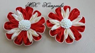 Заколки из атласных лент. Канзаши в красном цвете.