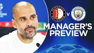 PEP GUARDIOLA & STONES PREVIEW | Feyenoord v Man City | Champions League 2017-18