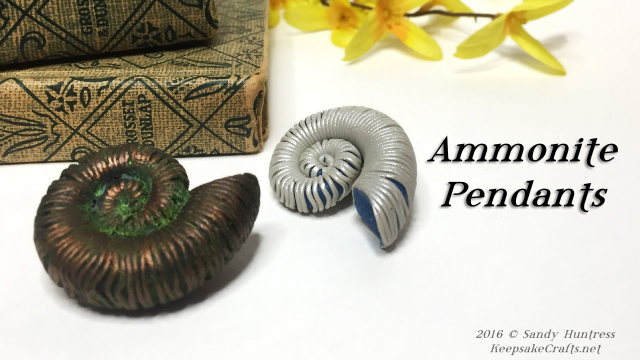Ammonite pendants polymer clay tutorial youtube aloadofball Images