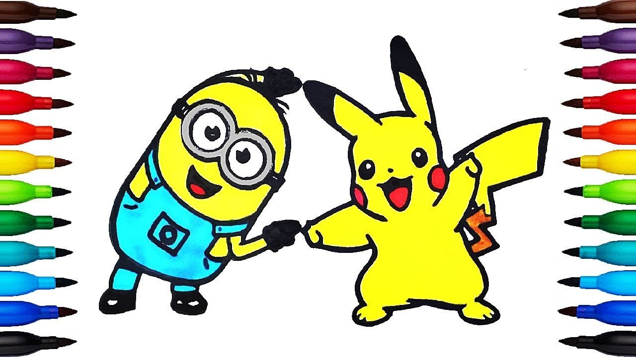 How to Paint Minion and Pikachu   Coloring Pages for Kids ...