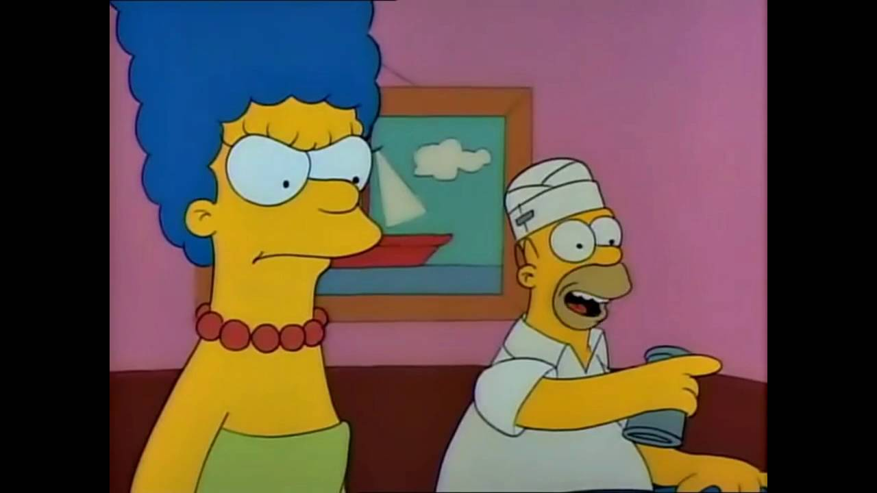 The simpsons homer watches itchy and scratchy youtube for Picas redondas