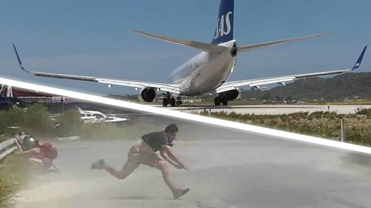 JET BLAST throws person on the ground! SAS 737 at the ...