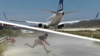 JET BLAST throws person on the ground! SAS 737 at the Second St Maarten! Skiathos 737 Takeoff!
