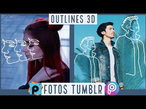 Cómo hacer FOTOS estilo TUMBLR, OUTLINES 3D PicsArt Tutorial
