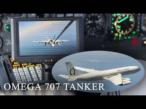 Civilian Air Refueling Tanker Omega 707 Refuels With Military F-18 Aircraft