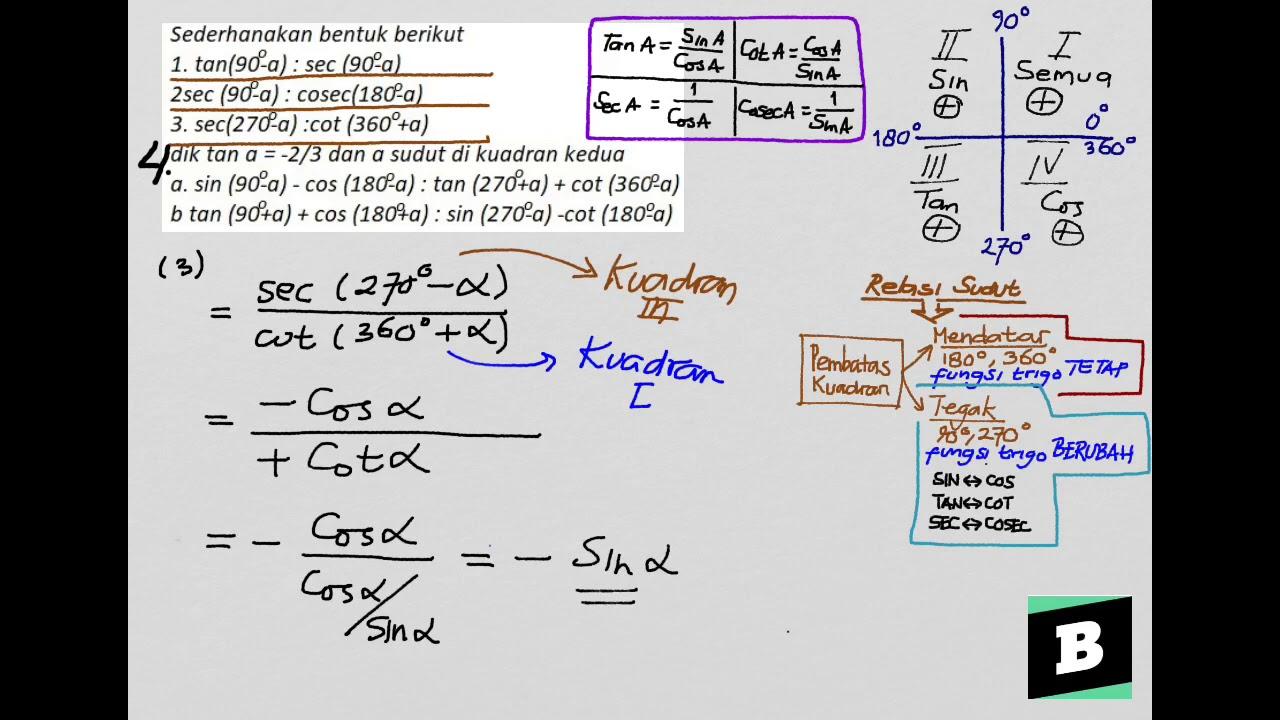 Fungsi trigonometri yang terdiri atas sin, cos, tan, cosec, sec, dan cotan dapat digunakan untuk menentukan sisi sebuah segitiga atau sudut. Sederhanakan Bentuk Berikut Trigonometri Berikut Seperti Tan Sec Cosec Dan Cot Youtube