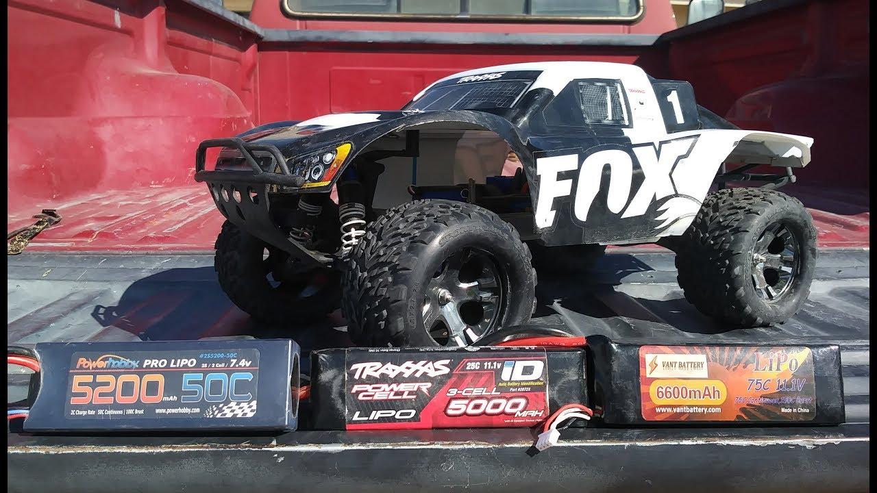 Traxxas Monster Slash 4x4 Battery Comparison 2s vs 3s LIPO 25c to 75c to  150c burst