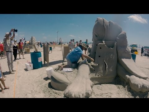 """The Cat Did It"" Sand Sculpture at Texas Sand Fest 2017 Timelapse"