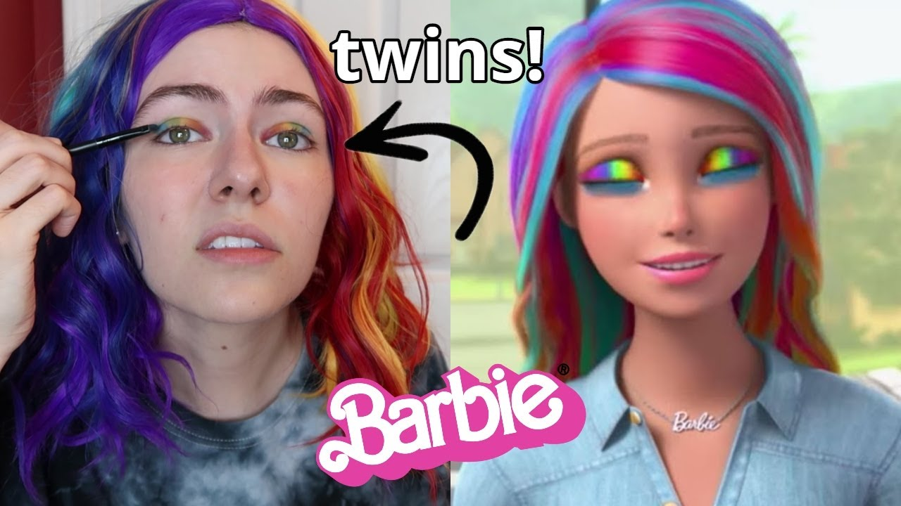 I Tried Following A Barbie Vlogs Rainbow Makeup Tutorial