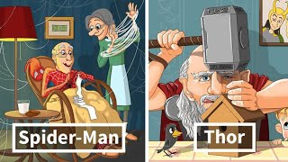 Russian Artist Illustrates What Would Happen If Famous Characters Got Old And Thor Is Too Cute