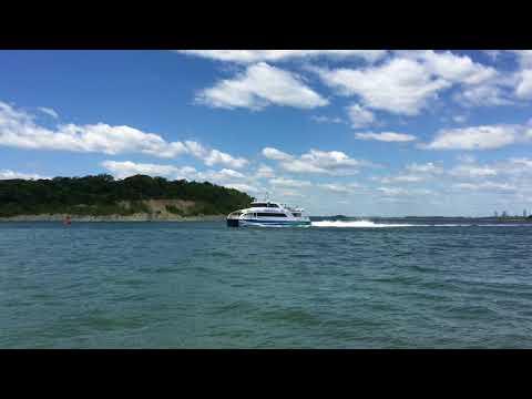 The MBTA ferry arrives from Logan Airport June 14th 2018 Hull Massachusetts