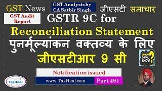 GSTR 9C notified for Audit Report & Reconciliation Statement under GST