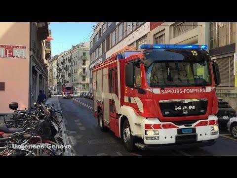 Pompiers Genève tonne-pompe 15, échelle 24 et fourgon 39 // Geneva fire dept. vehicles 15 + 24 + 39