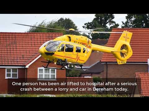 Motorist airlifted to Addenbrooke's hospital after serious crash in Dereham