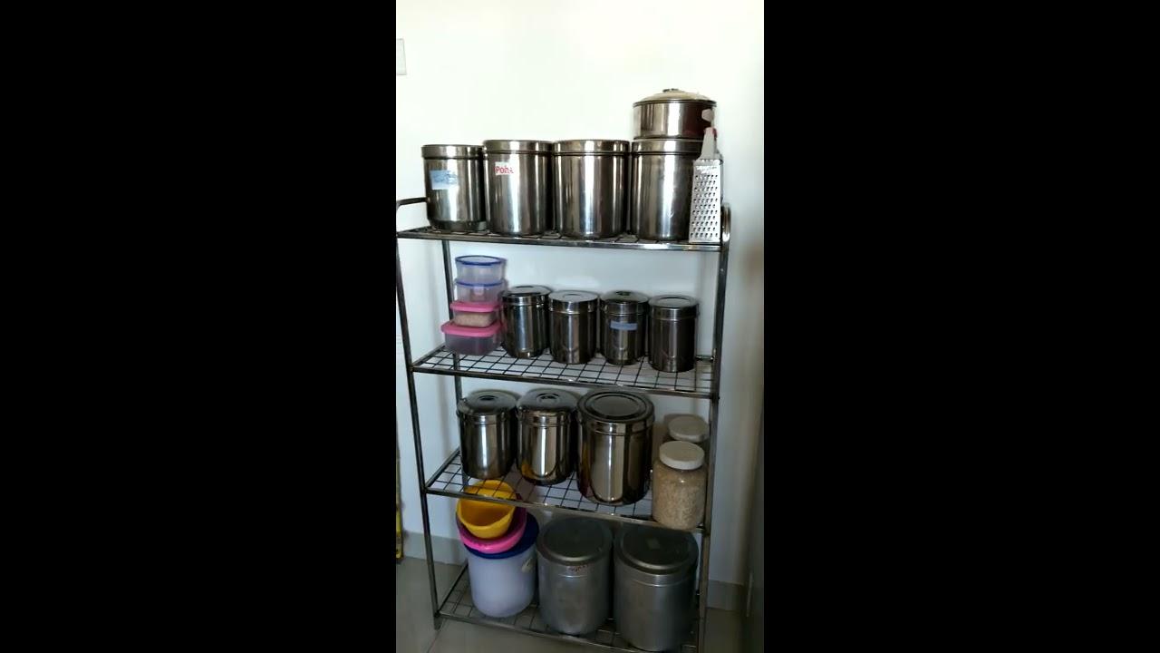 Indian Kitchen Tour 2 Non Modular Kitchen Organization Idea Organise Kitchen Without Cabinets Youtube