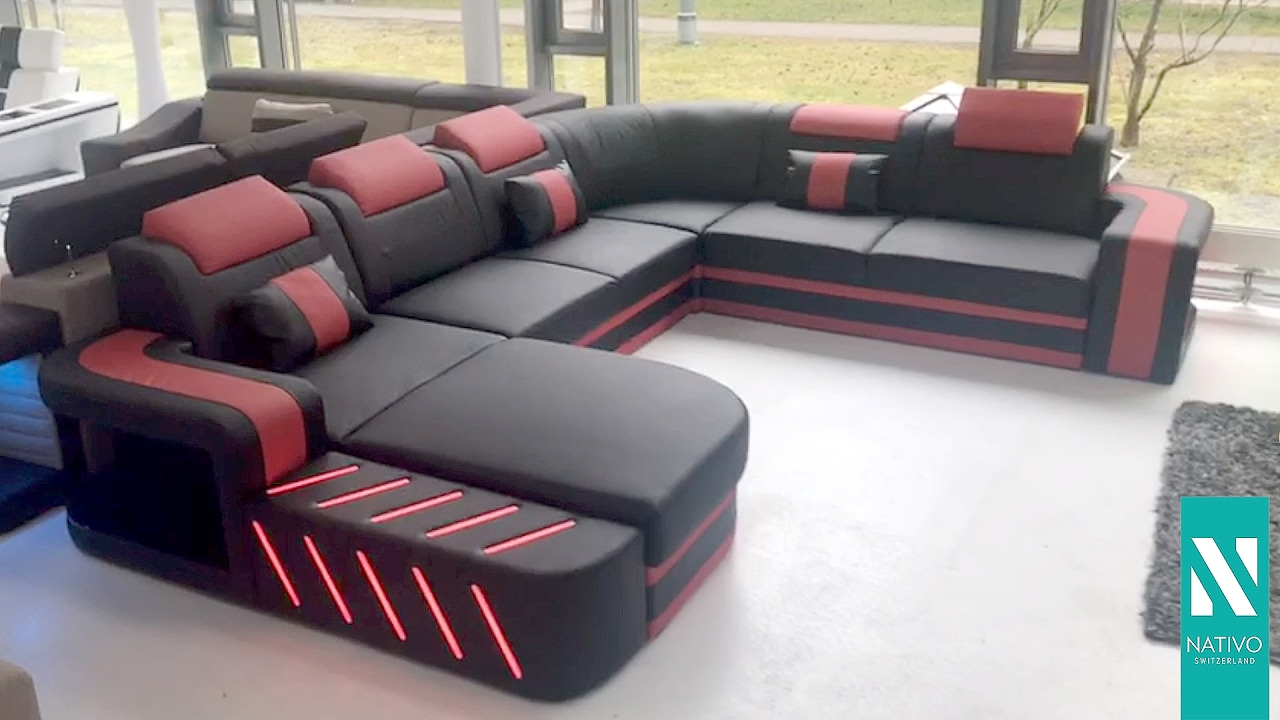 nativo m bel schweiz designer sofa space xxl mit led beleuchtung youtube. Black Bedroom Furniture Sets. Home Design Ideas