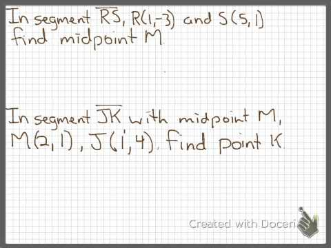 Sec 1.3: Midpoint and Distance Formulas