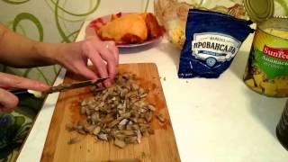 Салат из курицы с грибами и ананасом быстро и вкусно