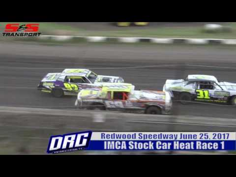 Redwood Speedway 6/25/17 IMCA Stock Car Heat Race 1