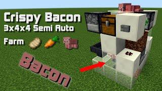 Minecraft - Semi Auto Pig Breeder, cooker and carrot farm (Smallest  farm in minecraft 1.8 3x4x4)